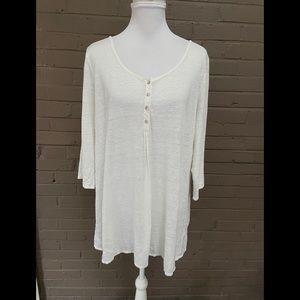 Eileen Fisher White linen top XL